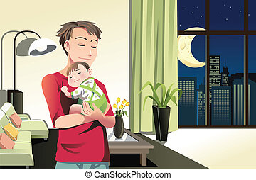 FY417 - A vector illustration of a father and a son spending...