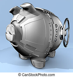 Steel piggy bank - Synthesis from piggy bank and banking...
