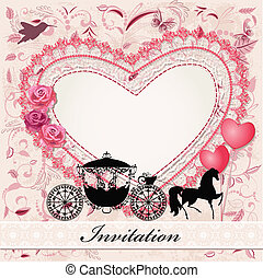 Valentine's, card, horse, carriage