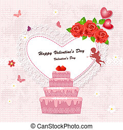 Cake with valentine and cupid for your design