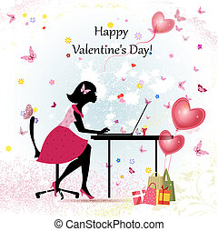 Card design girl with Valentine's Day