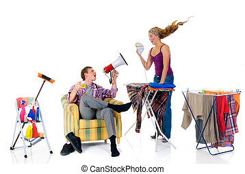 Household, ironing - Young bossy man with megaphone, woman...