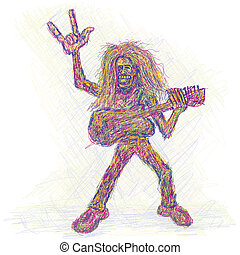 rockstar - artistic colorful rendition of a rockstar playing...
