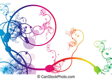 Rainbow Abstract Curving Line Vines