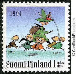 FINLAND - 1994: shows Moomin characters, Seven running -...