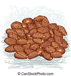 cacao beans - closeup illustration of heap of cacao beans.