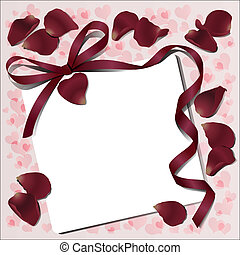 Declaration of love - Paper with rose petals and Reds bow...