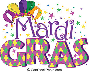 Mardi Gras - Mardi Gras type treatment with jester hat