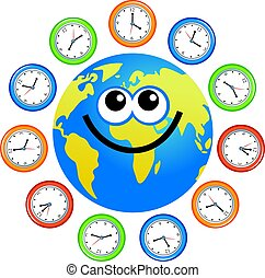 clock globe - a cartoon world globe surrounded by clocks