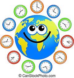 clock globe - a cartoon world globe surrounded by clocks