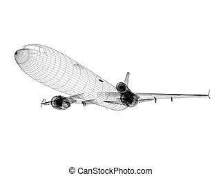 white Airliner - 3d white Airliner blueprint isolated on...