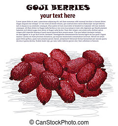 goji berries - closeup illustration of fresh heap of goji...