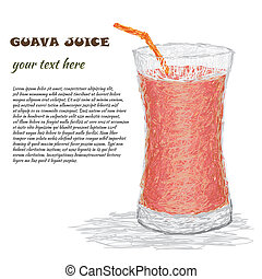 guava juice - closeup illustration of fresh glass of guava...