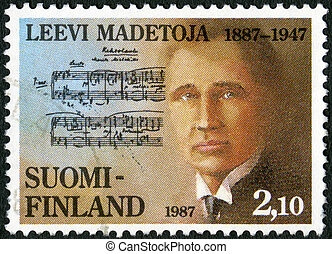 FINLAND - 1987: shows Leevi Madetoja 1887-1947, composer -...
