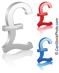 3D british pound symbol Vector illustration