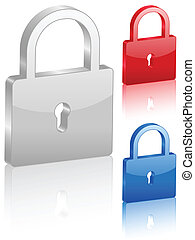 3D padlock symbol. Vector illustration.