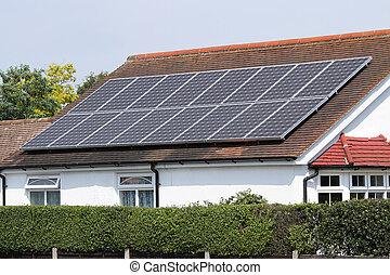 Solar photovoltaic panels on house