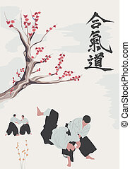 Aikido occupations - illustration, men are engaged in aikido...