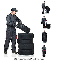 mechanic on duty collection - young mechanic move tires...
