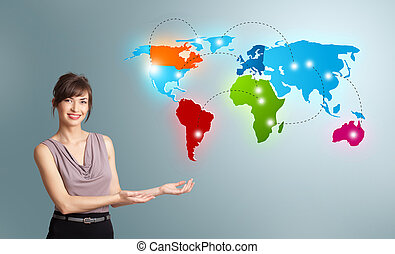 Young woman presenting colorful world map - Beautiful young...