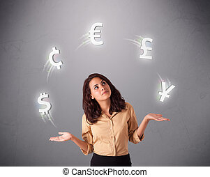 young lady standing and juggling with currency icons -...