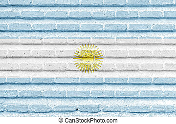 Argentina flag on an old brick wall