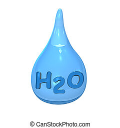 Blue Water Drop H2O - Blue water drop with text H2O on the...