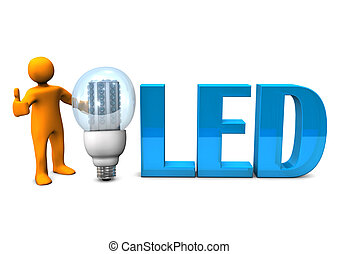"Blue LED OK - Orange cartoon character with blue text ""LED""..."