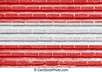 Austria flag on an old brick wall