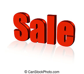red sale word with reflection on white background