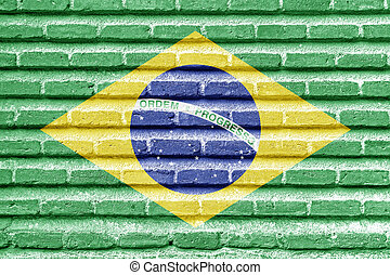 Brazil flag on an old brick wall