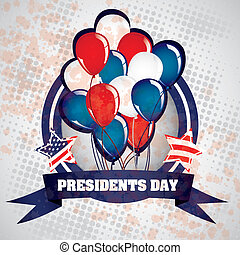 Presidents Day in USA - Poster illustration of Presidents...
