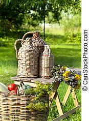 Rural still life with basket of vegetables