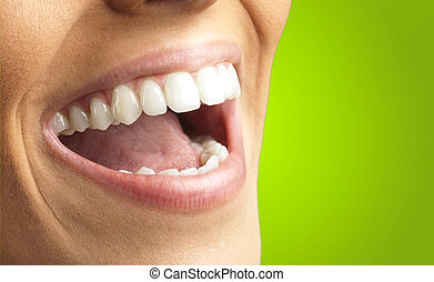 cierre, Arriba, de, sonriente, dientes