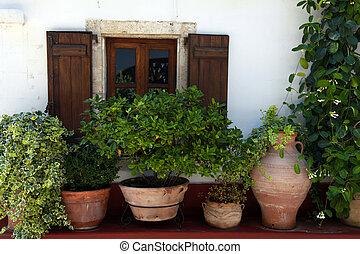 Window and flower pots (Crete, Greece) - Window with wood...
