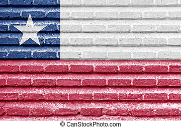 Chile flag on an old brick wall
