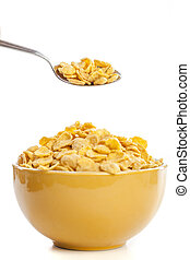 fresh cereal cornflakes in a bowl