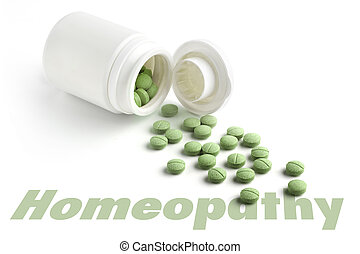 close up of bottle of homeopatic tablets on white background