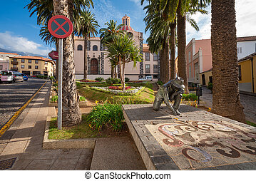 La Orotava. Tenerife, Canary Islands, Spain - Statue for the...
