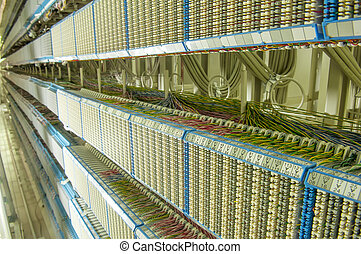 telephone switchboard with wires
