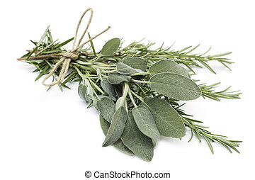 close up of tied twigs of sage and rosemary