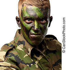 Close Up Of Angry Soldier On White Background