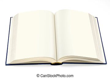 isolated hardcover book  open with white pages