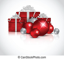 Xmas background with balls and box