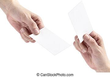 two hands exchanging blank bussiness cards on white...