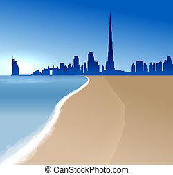 Dubai vector illustration with beach and sea