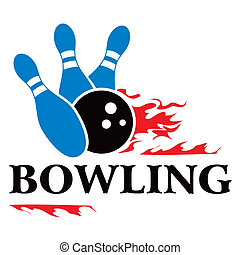 Bowling symbol - Design with bowling symbol isolated on...
