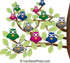funny flock of colorful birds - a flock of colorful birds on...