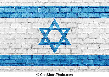 Israel flag on a brick wall