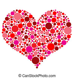 Valentines Day heart in red dots